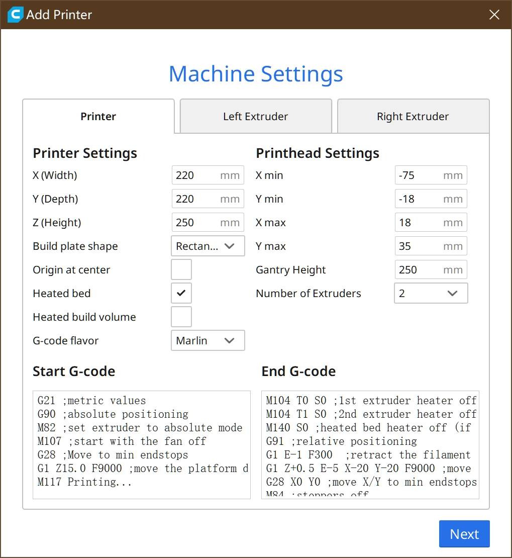 Tenlog 3D Machince Settings
